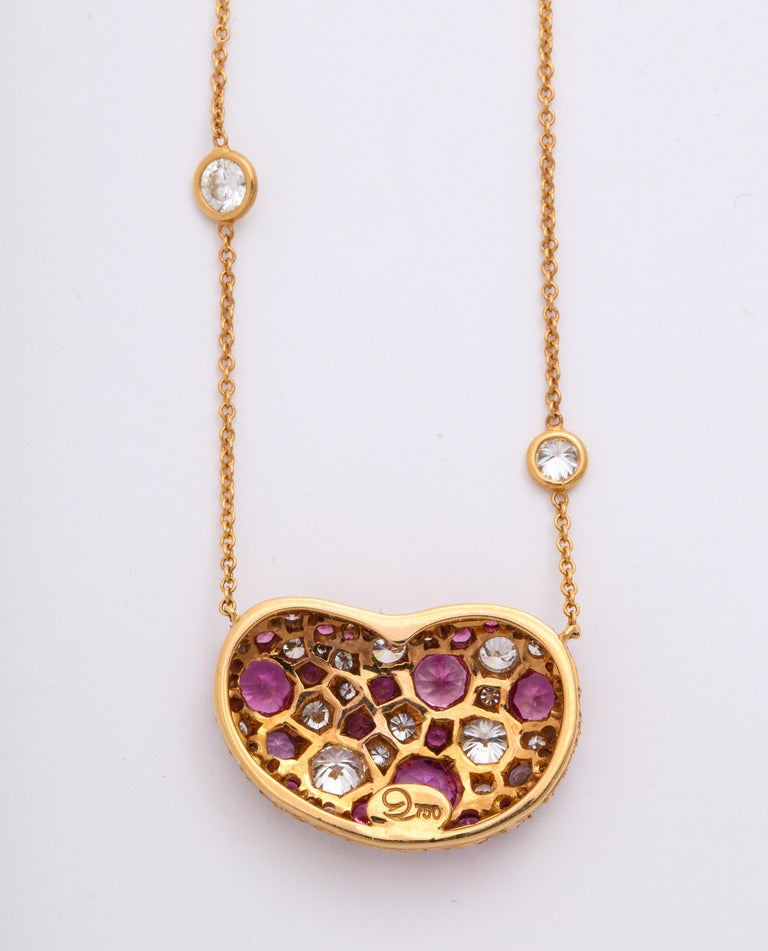 Contemporary Donna Vock 18K Rose Gold Artist's Palette Necklace in Pink Sapphire and Diamond  For Sale