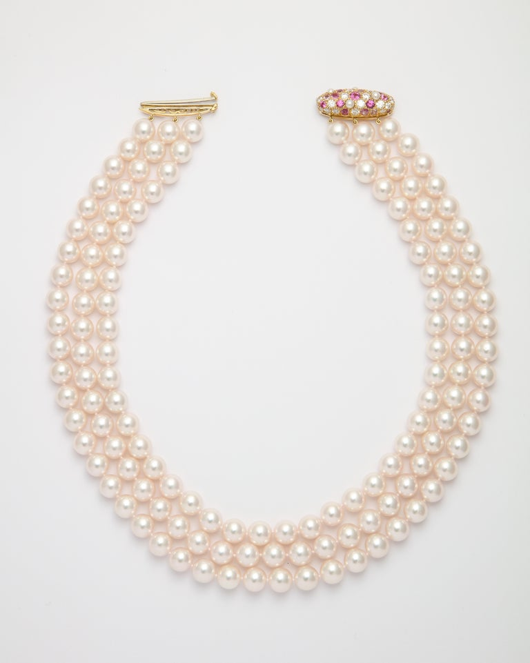 Contemporary Donna Vock Japanese Cultured Pearl Necklace with Pink Sapphire and Diamond Clasp For Sale