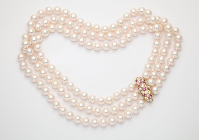 Donna Vock Japanese Cultured Pearl Necklace with Pink Sapphire and Diamond Clasp In New Condition For Sale In New York, NY