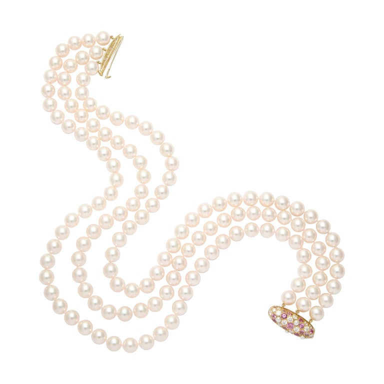 Donna Vock Japanese Cultured Pearl Necklace with Pink Sapphire and Diamond Clasp For Sale