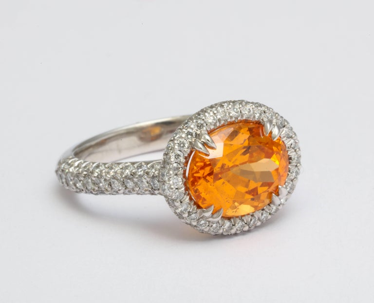 Contemporary Donna Vock Mandarin Garnet Platinum Micro-Pave Diamond Ring For Sale