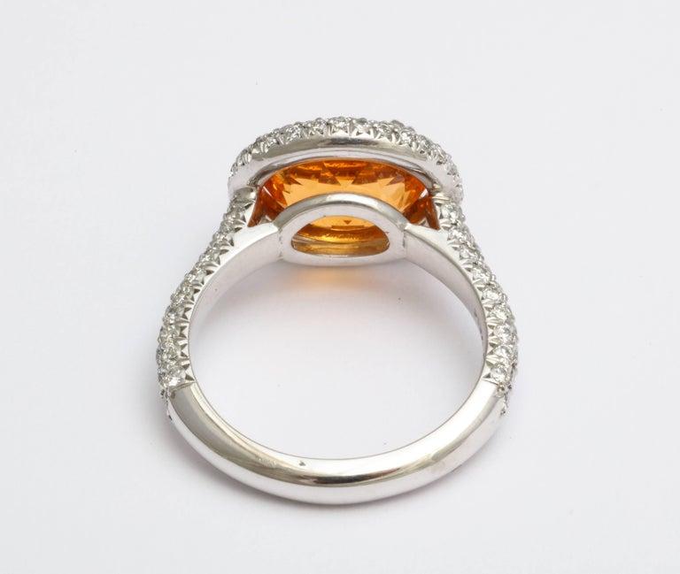 Oval Cut Donna Vock Mandarin Garnet Platinum Micro-Pave Diamond Ring For Sale