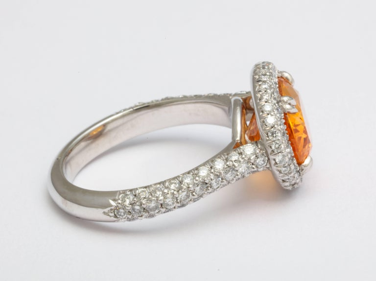 Donna Vock Mandarin Garnet Platinum Micro-Pave Diamond Ring In New Condition For Sale In New York, NY