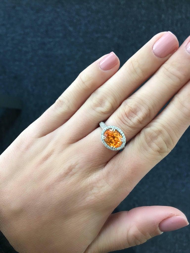 Women's or Men's Donna Vock Mandarin Garnet Platinum Micro-Pave Diamond Ring For Sale