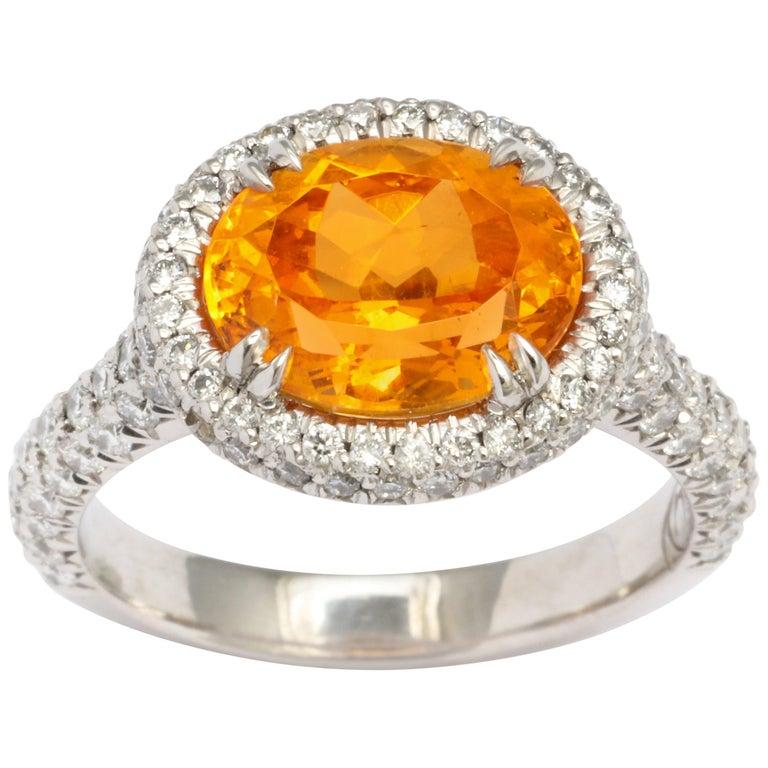 Donna Vock Mandarin Garnet Platinum Micro-Pave Diamond Ring For Sale