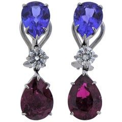 Donna Vock Pink Tourmaline Tanzanite Diamond Platinum Drop Earrings