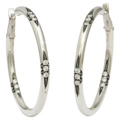 Donna Vock Platinum and Silver Hoop Earrings with Diamonds