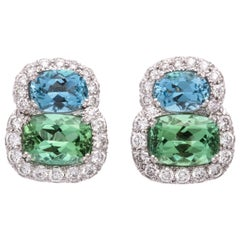 Donna Vock Platinum Aquamarine, Tourmaline and Diamond Clip-On Earrings
