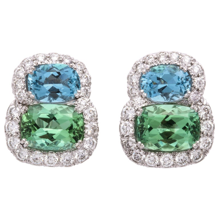 Donna Vock Platinum Aquamarine, Tourmaline and Diamond Clip-On Earrings For Sale
