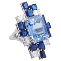 Donna Vock Platinum Modernist Sapphire and Diamond Ring