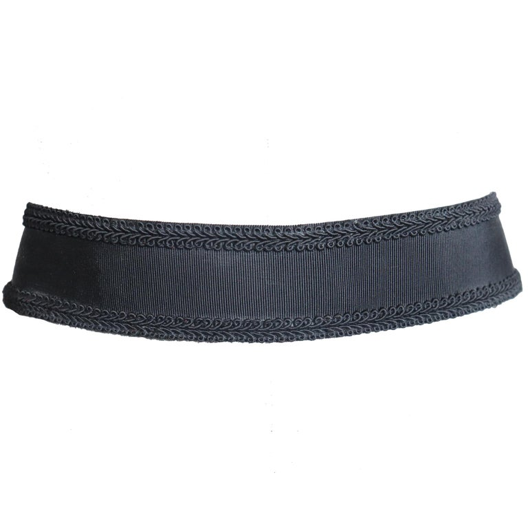 DonnaKaran Black Grosgrain Belt with Braided Trim Circa 1990s In Excellent Condition For Sale In Los Angeles, CA
