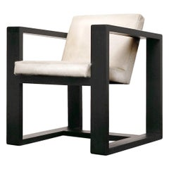 Donnie Pony Hair / Velvet Hardwood Armchair by Atra