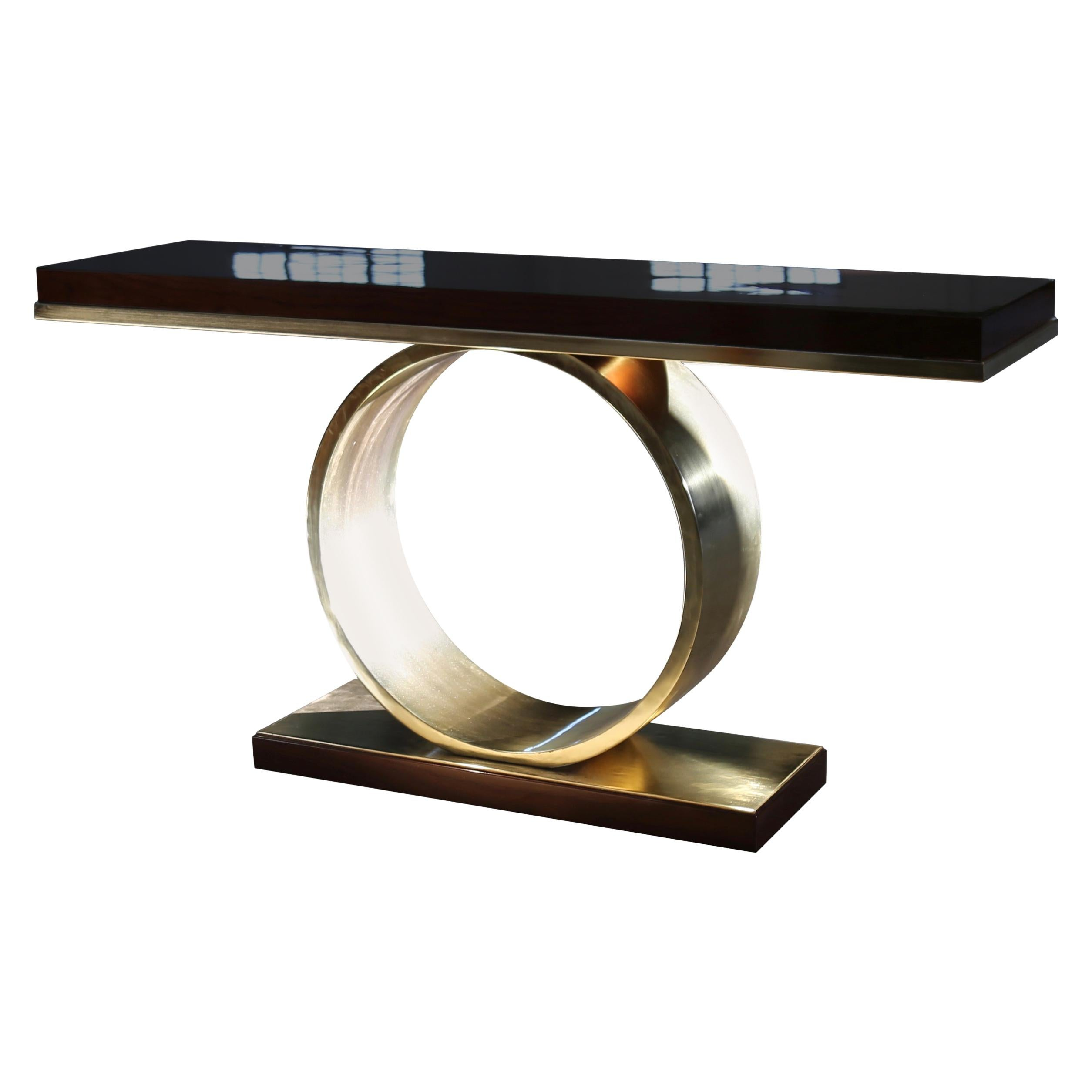 Donte Polished Bronze and Wood Console Table from Costantini