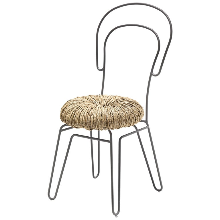 Donut Chair 'Set of Two' in Silver Finish by Alessandra Baldereschi & Mogg For Sale