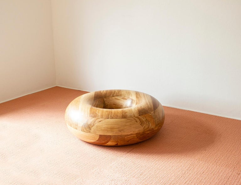 Contemporary Donut Coffee Table in Oak and Glass by Soft-Geometry For Sale