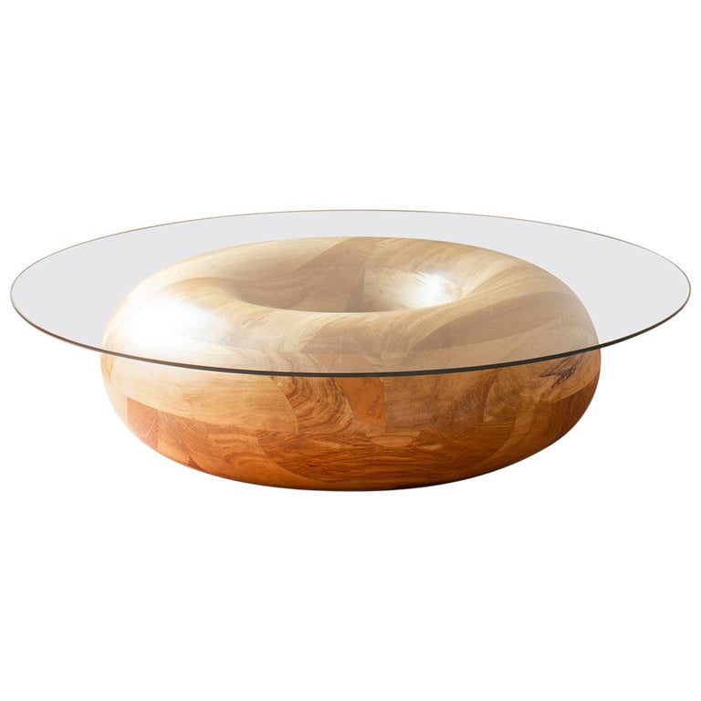 Donut Coffee Table in Oak and Glass by Soft-Geometry For Sale