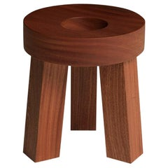 Donut Small Stool with a Central Hole in Solid Mahogany Wood by Aldo Cibic