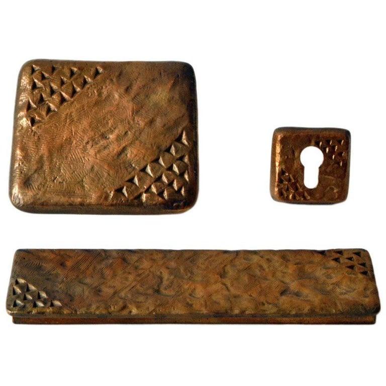 Door Handle Bronze with Fixtures For Sale