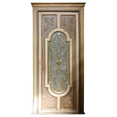 Door in Gilded and Vintage Lacquered Wood with Frame, 20th Century Italy