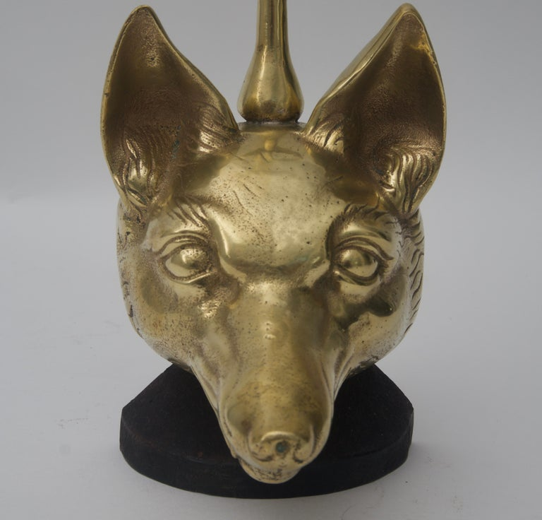 Door Stop with Fox Head and Riding Crop in Brass In Good Condition For Sale In West Palm Beach, FL