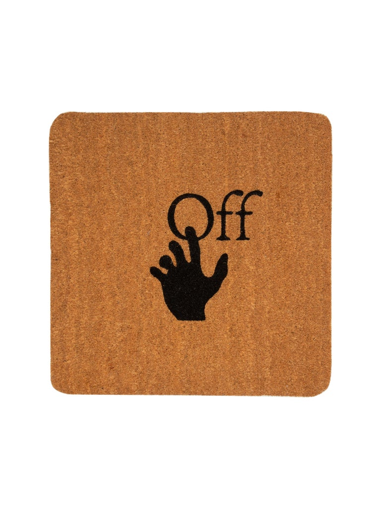 Off-White Doormat Hand Logo Brown Black
