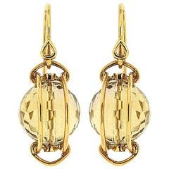 Doppio Faceted Citrine Gold Earrings
