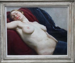 Reclining nude - British Art Deco oil painting sensual woman couch female artist