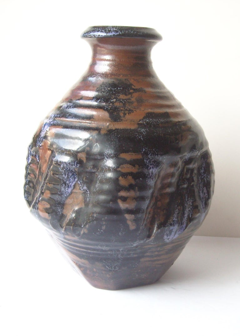 Nice size in this De Larios pottery vase. Well known Los Angeles based artist.