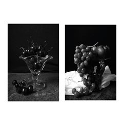 Grapes and Copa de Cerezas (B&W). Diptych