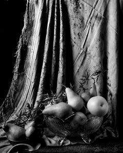 "Peras con cortina marroquí II (B&W) From ""Bodegon"" series"