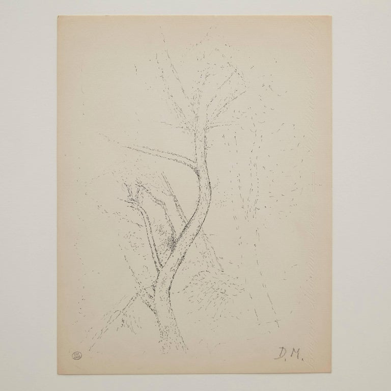 Pointillist composition by Dora Maar.  Authenticity stamp of the auction that took place in 1998 in Paris. Black ink on cream white paper. 20th century, undated. Frame not included.  In good original condition, with minor wear consistent with