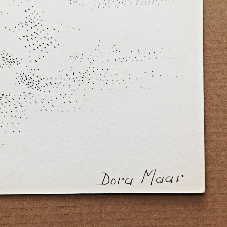 Pointillist composition by Dora Maar. Signed in ink in the lower right corner.  Authenticity stamp of the auction that took place in 1998 in Paris. Black ink on cream white paper. 20th century, undated.  In good original condition, with minor