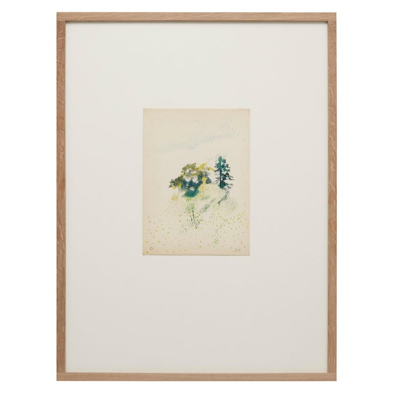 Dora Maar Hand Signed Color Drawing, circa 1960 For Sale