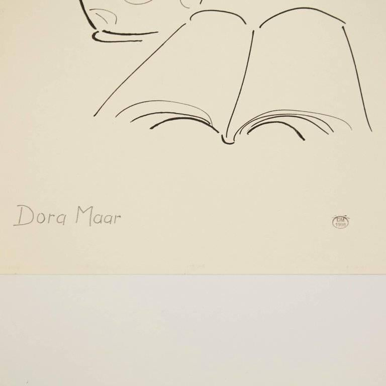 Drawing by Dora Maar. Hand signed.  Authenticity stamp of the auction that took place in 1998 in Paris. Black ink on cream white paper, 20th century, undated. Frame not included.  In good original condition, with minor wear consistent with