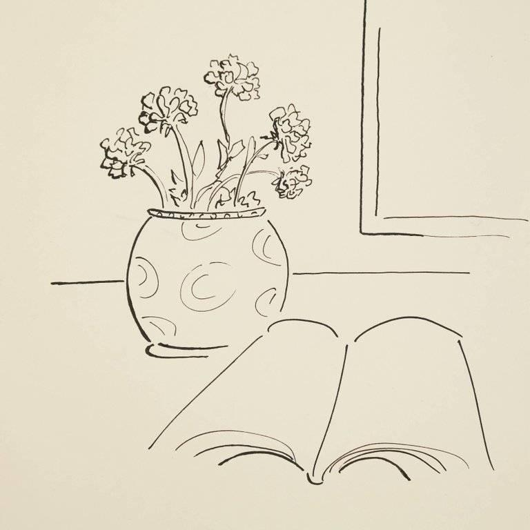 Mid-Century Modern Dora Maar Hand Signed Drawing, circa 1960 For Sale