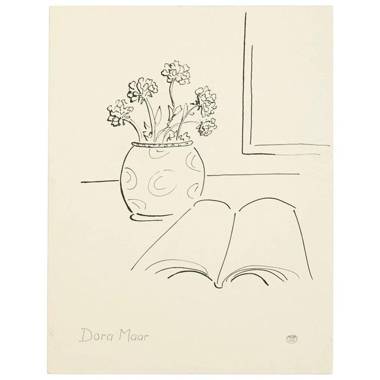 French Dora Maar Hand Signed Drawing, circa 1960 For Sale