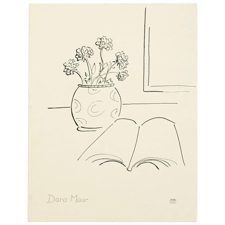 Dora Maar Hand Signed Drawing, circa 1960 For Sale