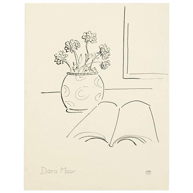 Dora Maar Hand Signed Drawing, circa 1960 For Sale
