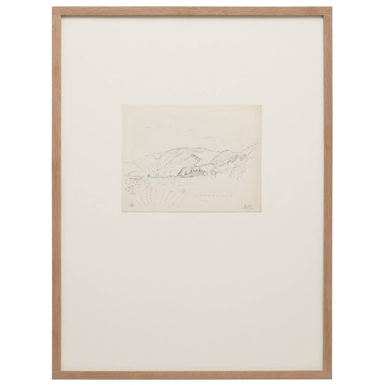 Pointillist composition by Dora Maar, circa 1960.  Hand signed. Authenticity stamp of the auction that took place in 1998 in Paris. Black ink on cream white paper. 20th century, undated. Frame not included.  In good original condition, with