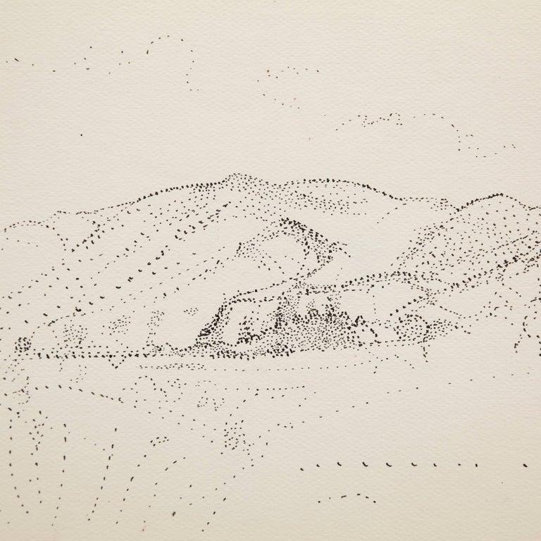 Mid-Century Modern Dora Maar Hand Signed Pointillist Drawing, circa 1960 For Sale