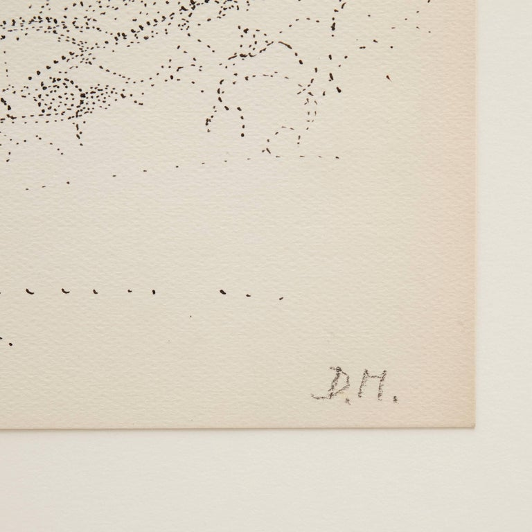 French Dora Maar Hand Signed Pointillist Drawing, circa 1960 For Sale
