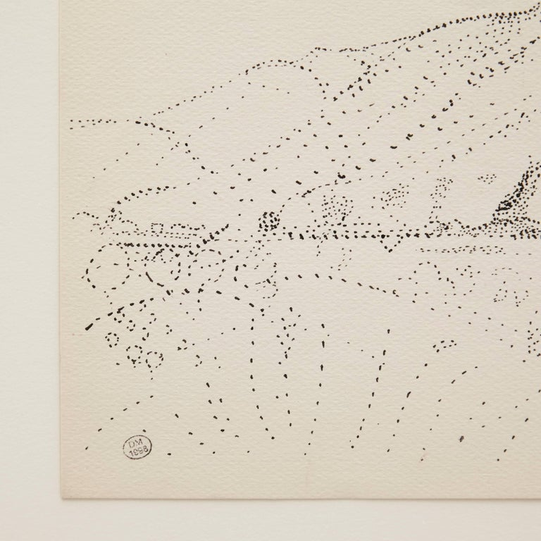 Dora Maar Hand Signed Pointillist Drawing, circa 1960 In Good Condition For Sale In Barcelona, Barcelona