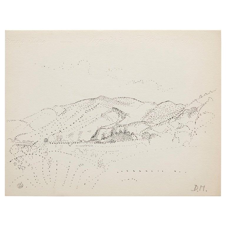 Dora Maar Hand Signed Pointillist Drawing, circa 1960 For Sale