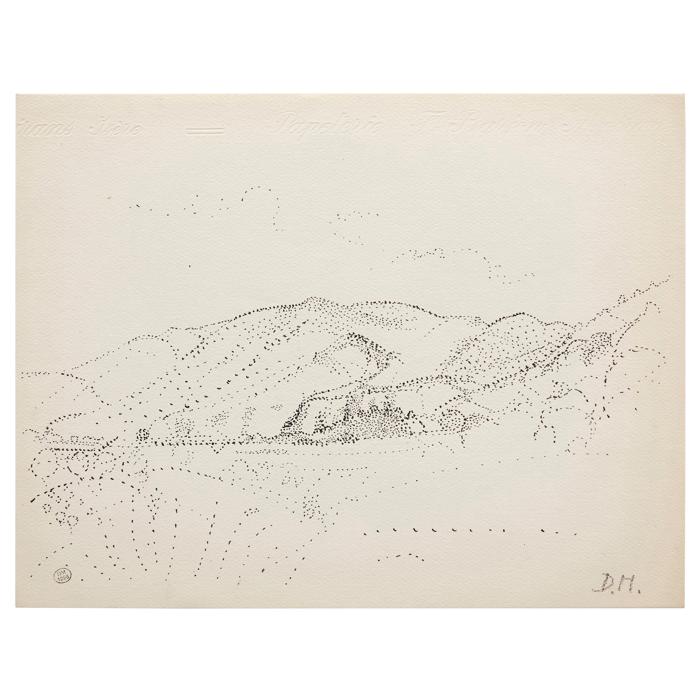 Dora Maar Hand Signed Pointillist Drawing, circa 1960