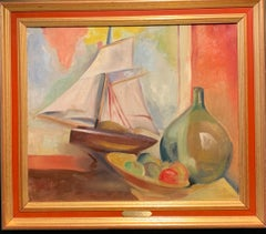 """""""Still life with sailing ship"""" Orange cm 55 x40 about 1940/1945 Oil"""