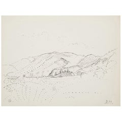 Dora Maar Pointillist Surrealist Landscape Drawing
