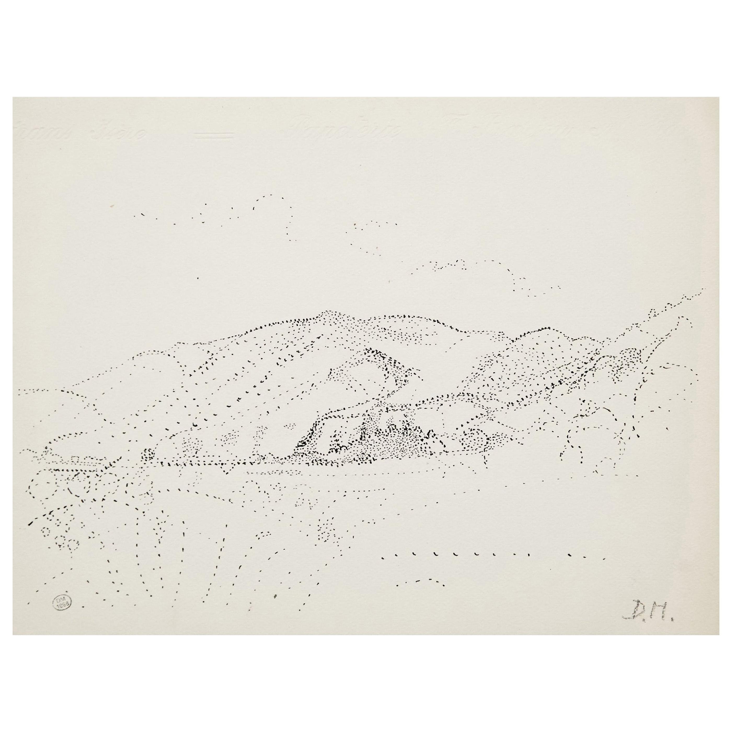 Dora Maar Pointillist Surrealist Landscape Drawing
