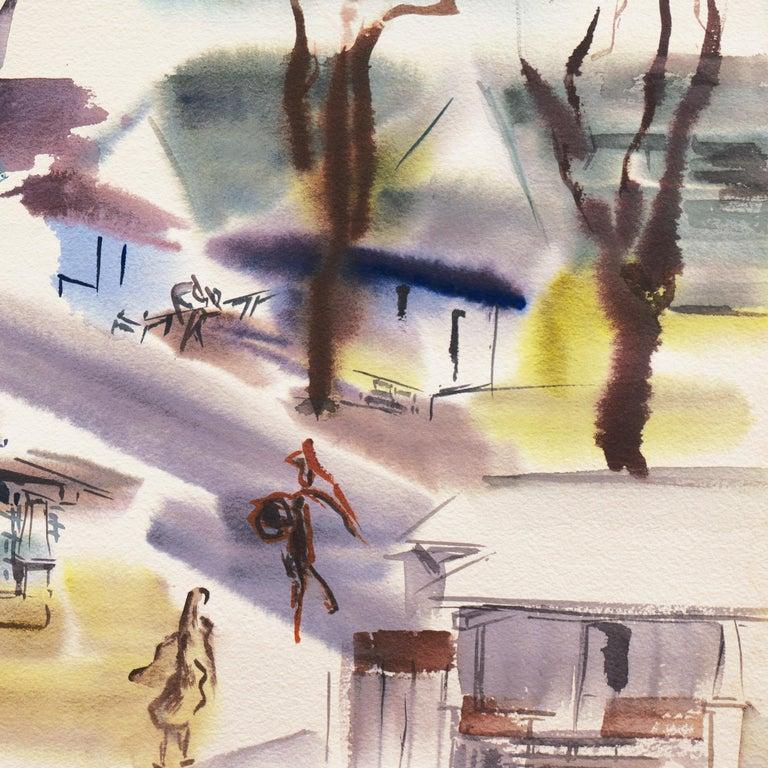 'Old Carmel Village', 1950's Woman Artist, San Francisco Bay Area, SFAA - Painting by Dora Masters