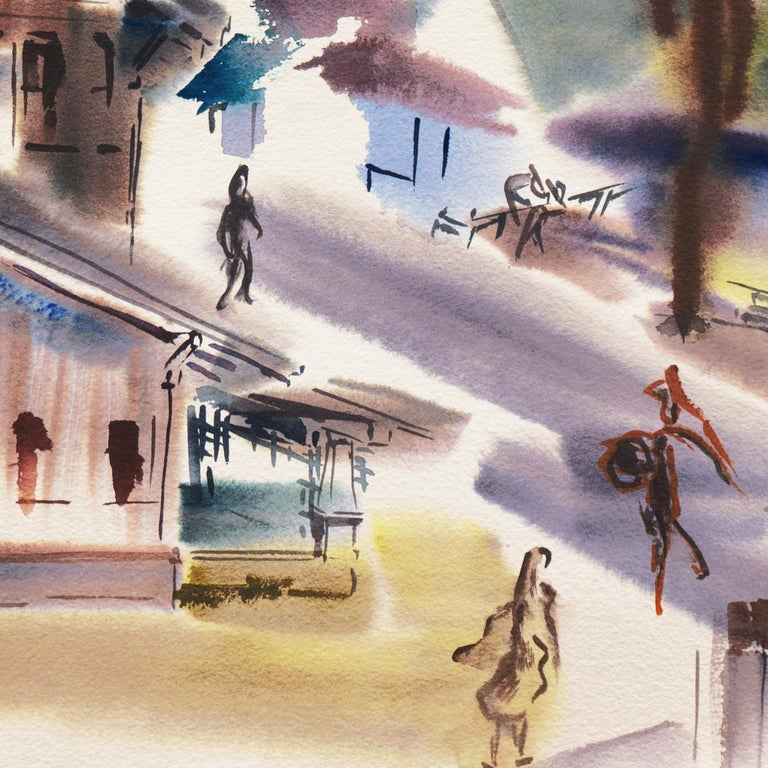 'Old Carmel Village', 1950's Woman Artist, San Francisco Bay Area, SFAA - Beige Abstract Painting by Dora Masters