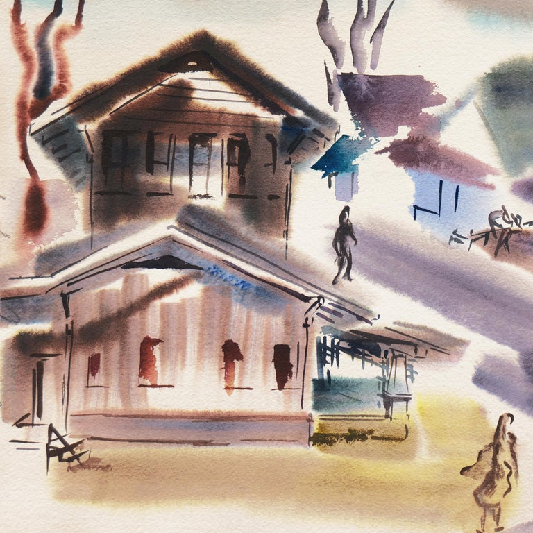 Painted by Dora Masters (American, 1913-2003) circa 1960. Stamped verso with certification of authenticity. Acquired from the artist's son.  Dora Masters exhibited widely and with success throughout the 1950s and '60s, including at the San Francisco
